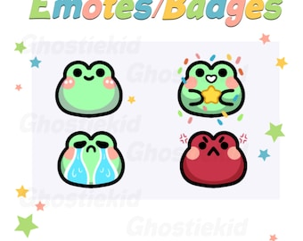 Frog Emote Badges Subscriber Perks Cute for Twitch Youtube Discord Streamer Art Affordable Assets