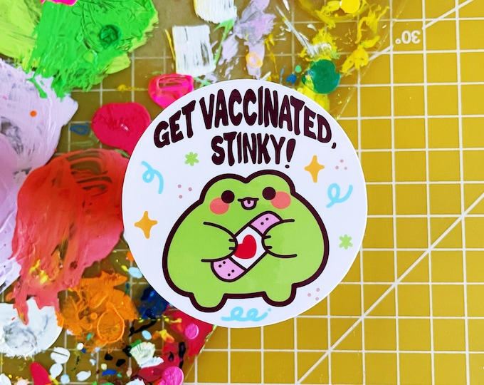 Get Vaccinated Sticker Vinyl Frog