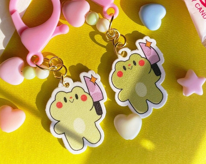 Frog with Knife Charm Homemade Shrink Film Keychain