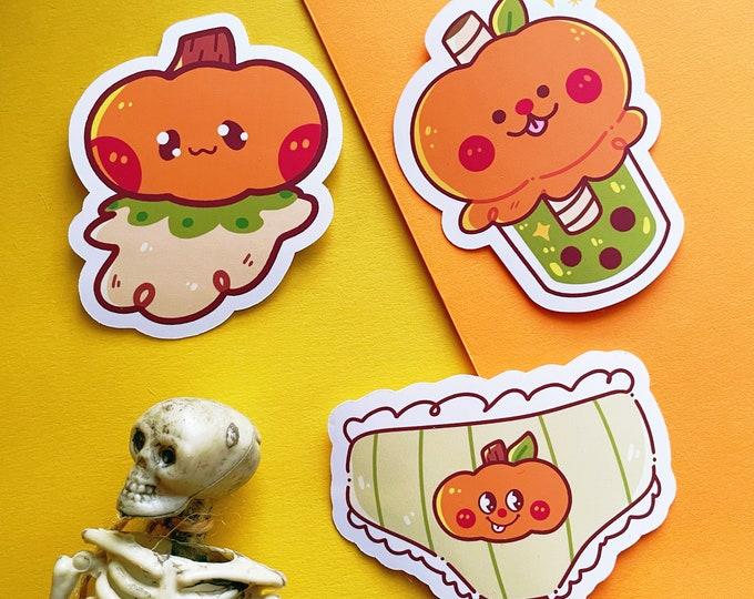 Halloween Sticker Vinyl Spooky Creepy Cute Goodie Bags Treats Unique Fun Boba Milk Tea