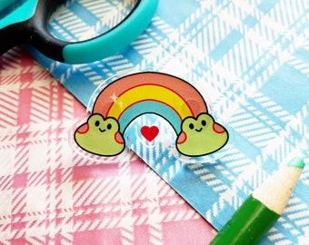 Froggy Rainbow Pin Acrylic Charm Cute