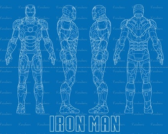 High Quality Iron Man Blueprint Svg, Iron Man SVG,Iron Man Wall Poster  Shirt Art,Iron Man Dxf Png, Iron Man Suit Design, Cricut Silhouette