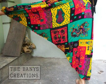 Harem pants funky abstract bright color