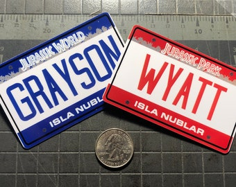 Jurassic World Mini License Plate with Your Name