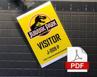 Jurassic Park Visitor ID Badge Set PDF Digital Download