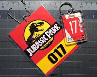 Jurassic Park Jeep Keychain & Mirror Tag Combo