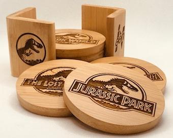 Jurassic Park/World Movies 6 Pc Bamboo Coaster Set