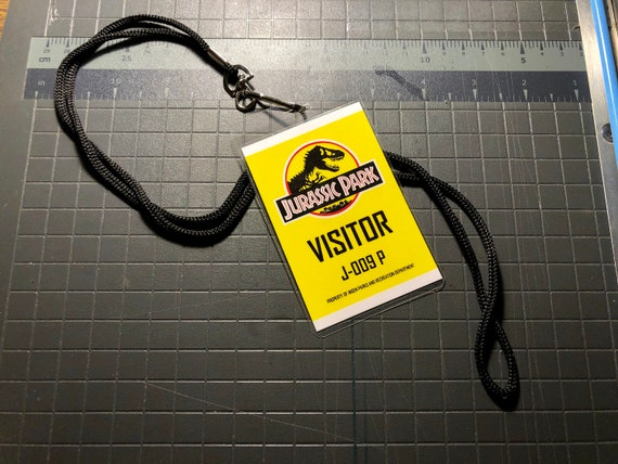 Jurassic Park Visitor Id Badge Yellow Etsy Jpg 570x428