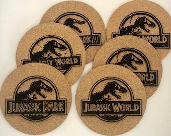 Jurassic Park/World Movie Logo Cork Coaster Set of 6