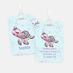 Personalized Turtle Kids Luggage Tag, Personalised Bag Tag, Sea Turtle Personalized Travel Bag Tags, Back to School Name Tag