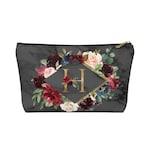Makeup Bag, Cosmetic Bag, Bridesmaid Gift, Make Up Bag, Personalized Bag, Toiletry Bag, Personalized Gift, Gift For Her, Black Marble Floral