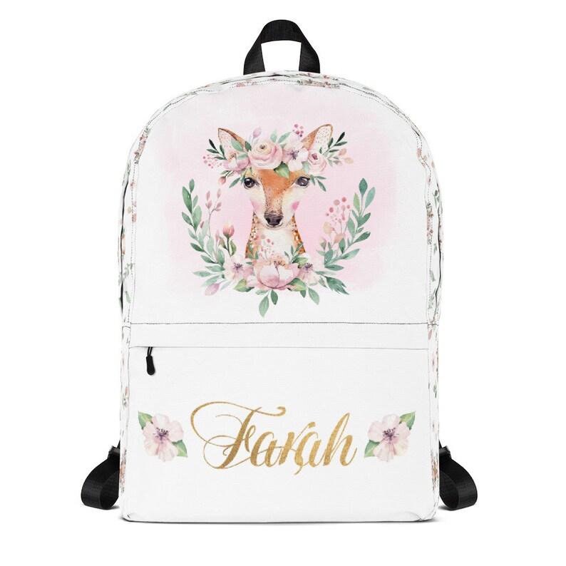 Personalized Kids Deer Backpack Back To School Girls Backpack image 0