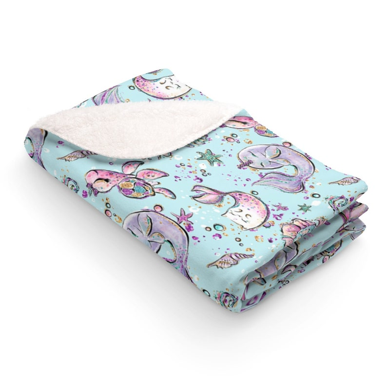 Narwhal Sherpa Fleece Blanket Narwhal Baby Shower Gift image 0