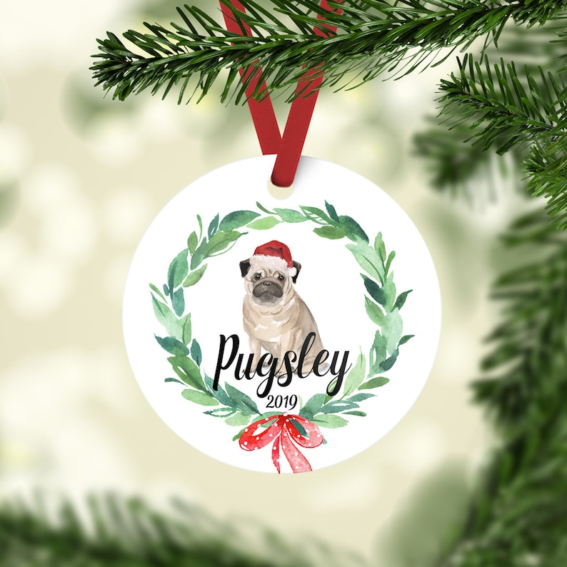 Fawn Pug Dog Christmas Ornament Personalized With Your FRONT ONLY