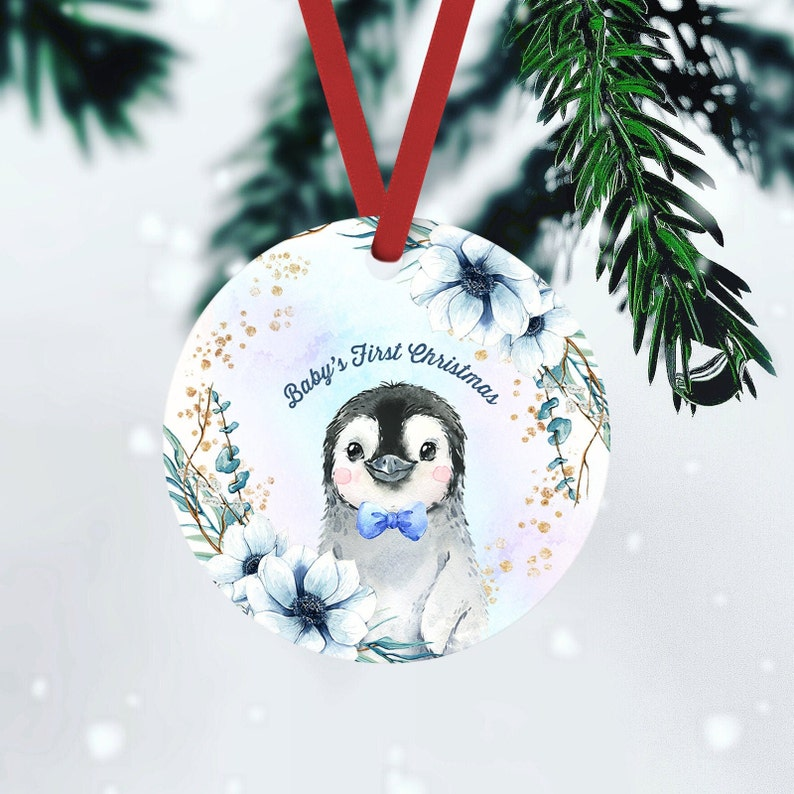 Baby Penguin Personalized Christmas Ornament For Kids FRONT ONLY