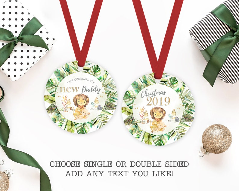 Personalized Lion Ornament New Daddy Christmas Ornament My First Christmas As A New Dad Ornament Custom Holiday Ornament Gift For Dad