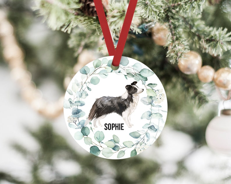Gifts for Dog Lovers Custom Pet Memorial Ornament Dog Mom or Dog Dad Border Collie Christmas Ornament,Dog Ornament With Name /& Year