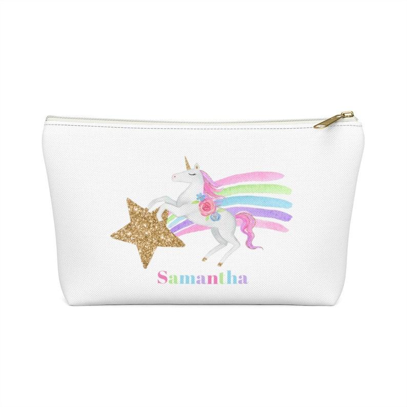 Personalized Rainbow Unicorn Travel Bag Unicorn Bag Unicorn image 0