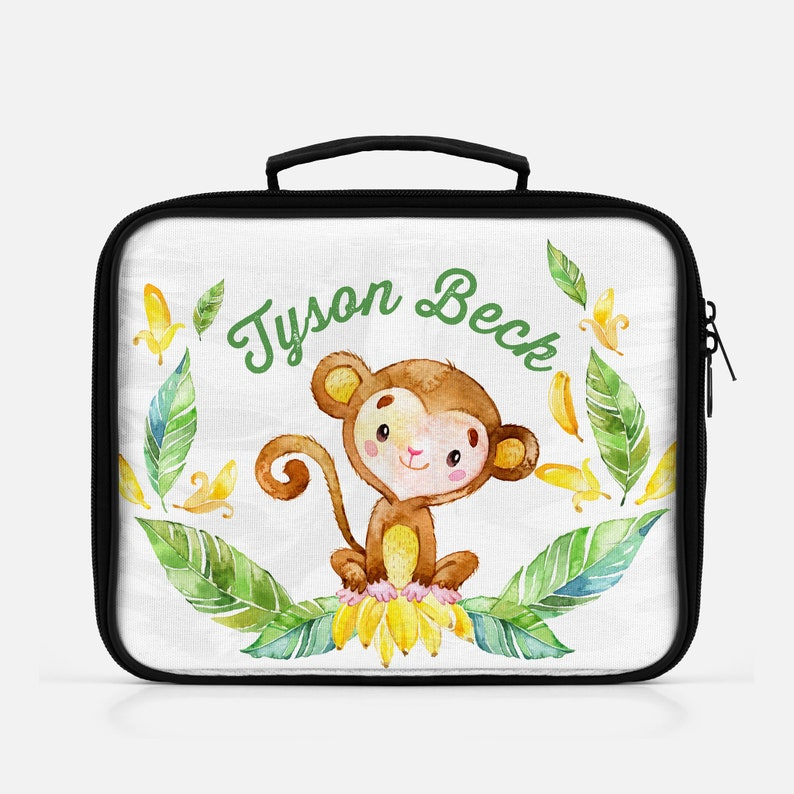 Back To School Personalized Monkey Lunch Bag  Reusable Snack image 0