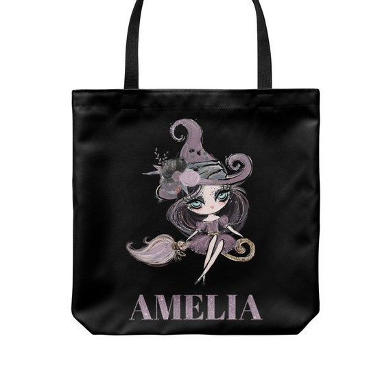 Personalised kids your name Halloween  glitter witch trick or treat tote bag