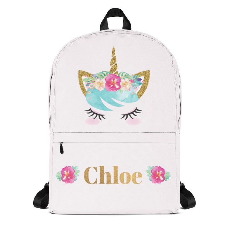 Girls Tropical Unicorn Backpack For Back To School Pink Kids image 0