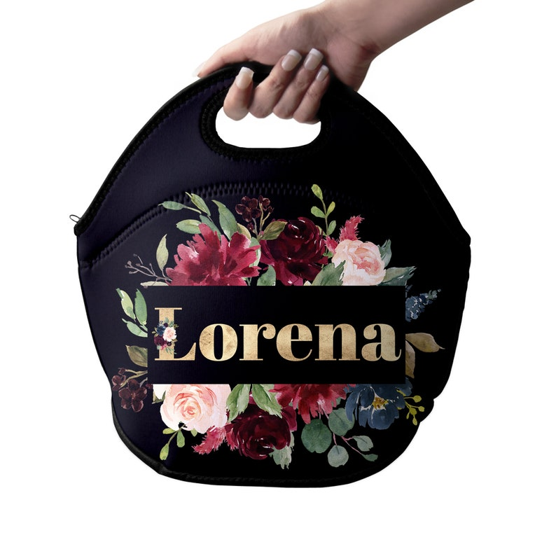 Personalized Floral Womens Lunch Bag Womens Lunch Tote image 0