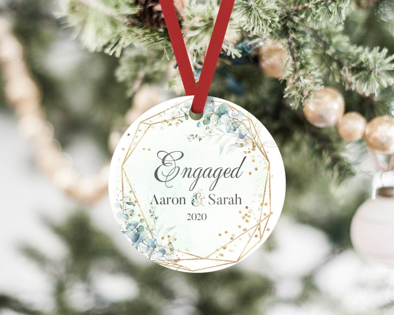 Personalised First Christmas Engaged Green Botanical Watercolour Metal Round Decoration Ornament Keepsake