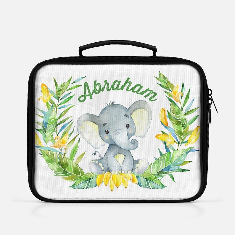 Elephant Jungle Safari Boys Lunch Bag Personalized Back To image 0