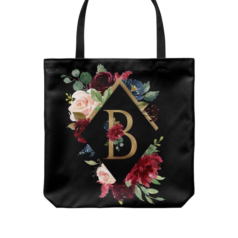 Personalized Tote Bridesmaid Gift Tote Bag Monogram Tote image 0