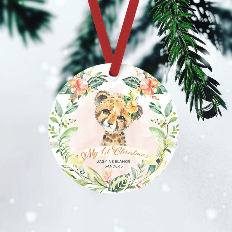 Babys First Christmas Custom Ornament Baby Girl Gift Safari FRONT ONLY