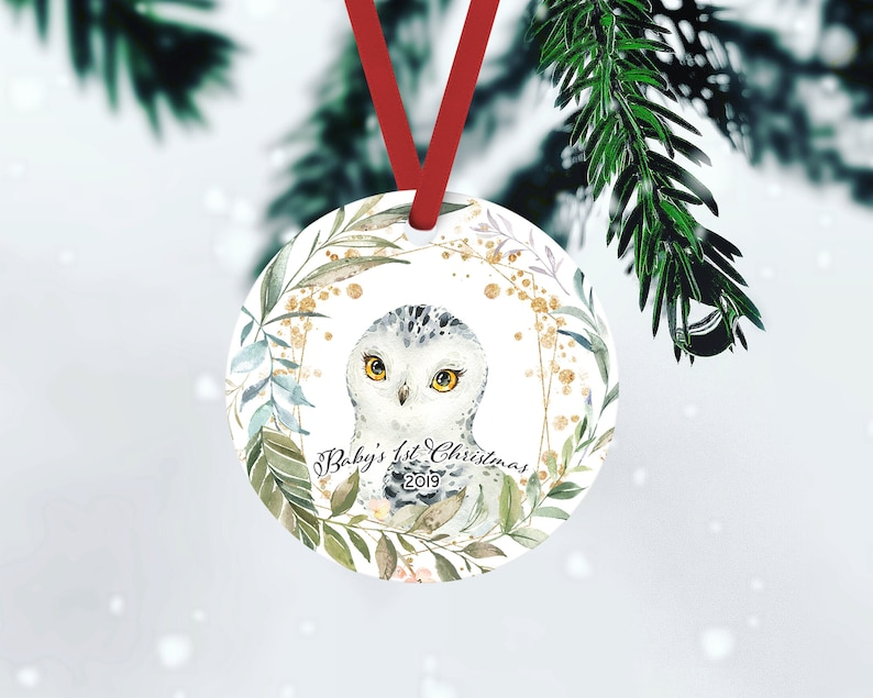 Owl Ornament Snowy Owl Baby's First Christmas Ornament FRONT ONLY