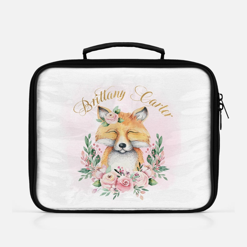 Girls Pink & Gold Floral Woodland Fox Personalized Lunch Bag image 0