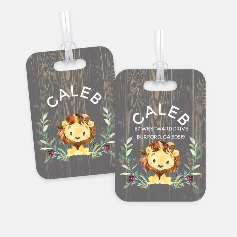 Kids Lion Personalized Bag Tag For Back To School Gift Idea image 0