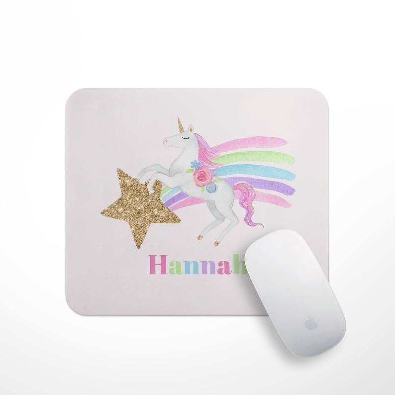 Girls Personalised Unicorn Mouse Mat Unicorn Mouse Pad image 0