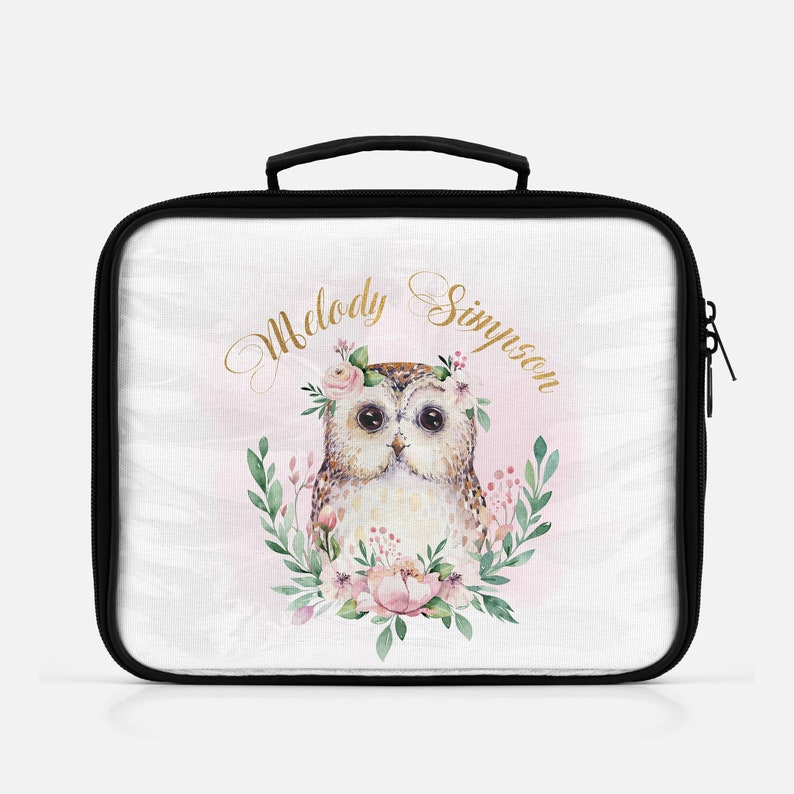 Girls Pink & Gold Floral Personalized Owl Lunch Box Owl Lunch image 0