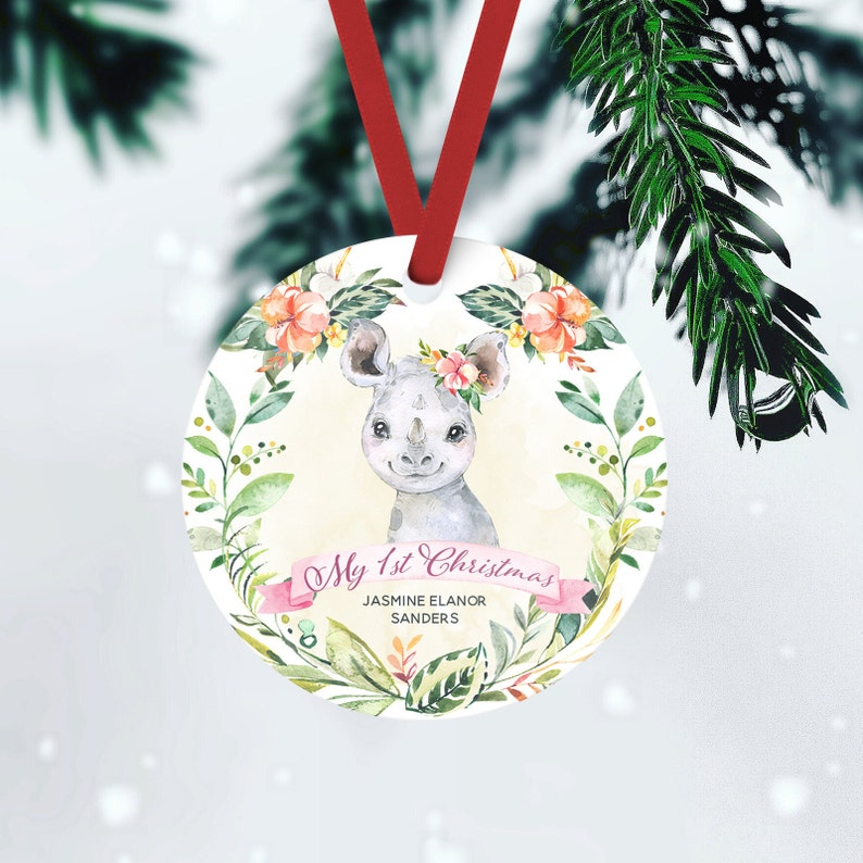 Babys First Christmas Ornament Baby Girl Child Keepsake FRONT ONLY