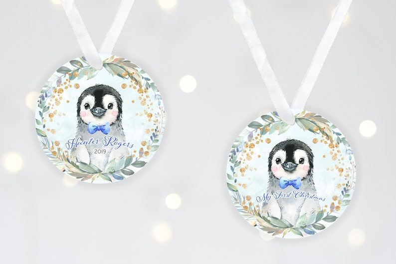 Baby Boy Baby's 1st Christmas Ornament Baby Penguin FRONT & BACK