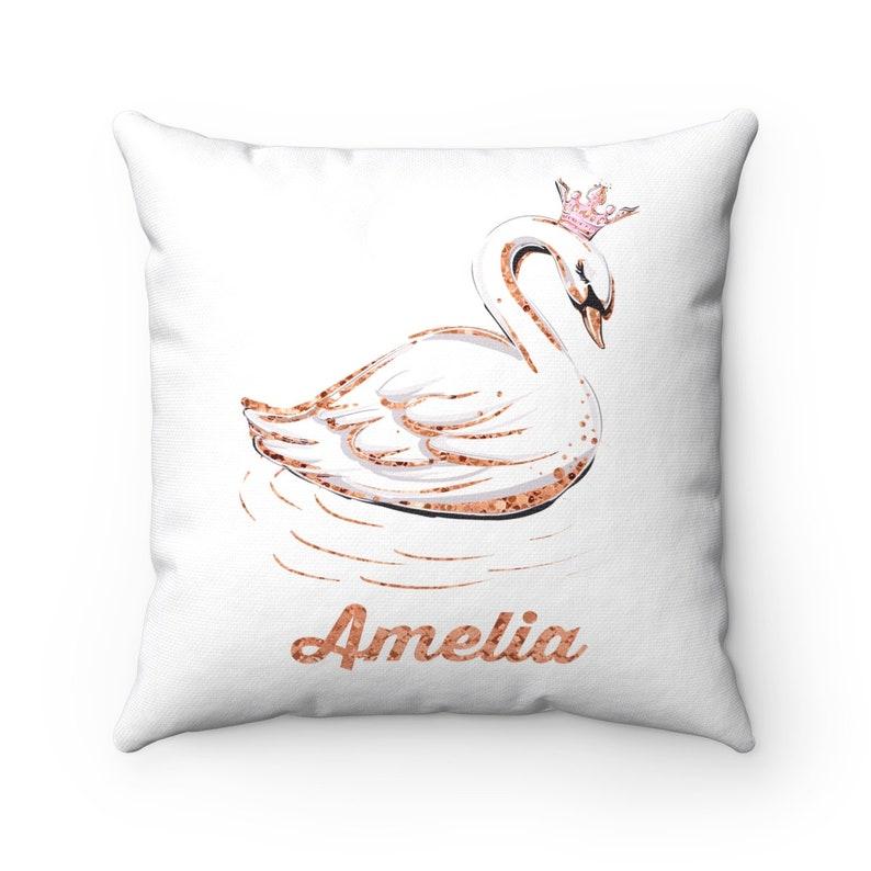 Swan Cushion Swan Pillow Swan Nursery Decor Swan Home image 0