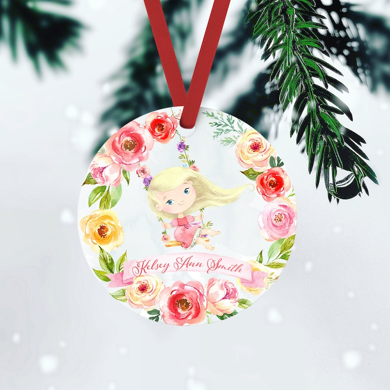 Pink Little Princess Name Ornament Gift Christmas Ornament BLONDE