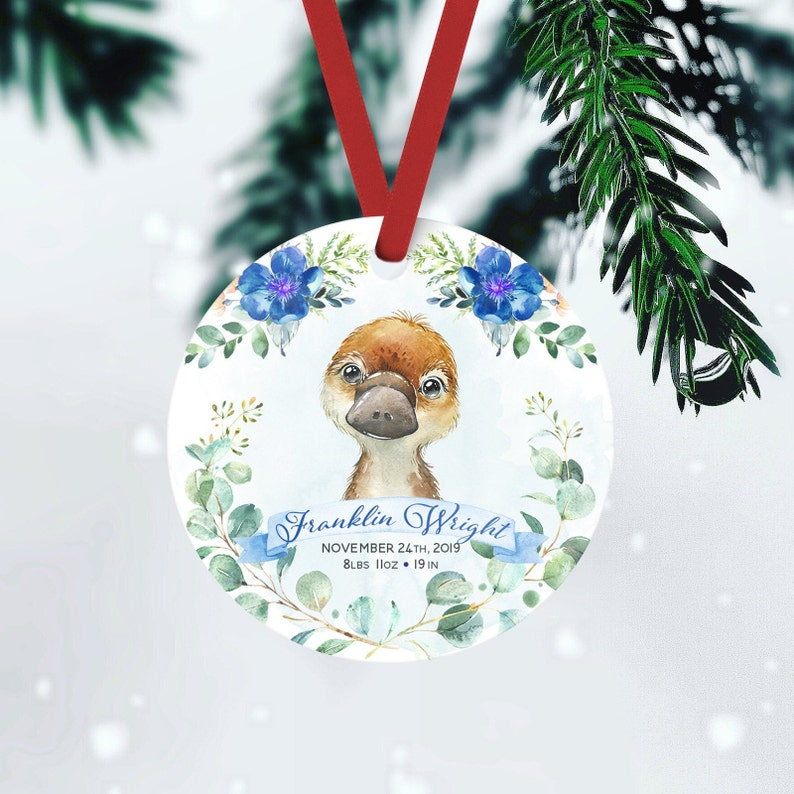 Australian Animal Platypus Gift Baby Birth Stats Ornament FRONT ONLY