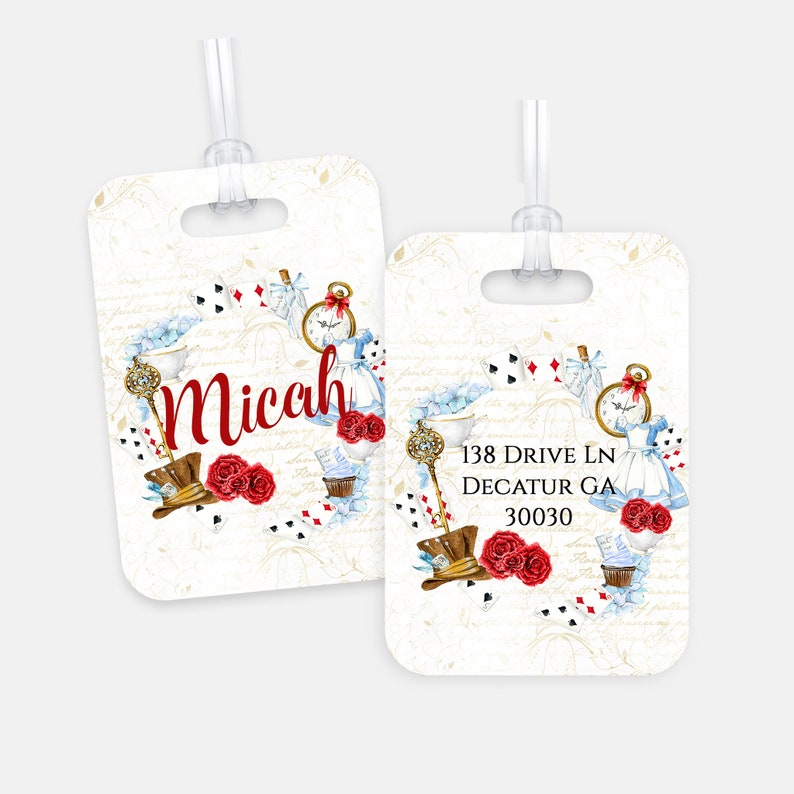 Alice In Wonderland Personalized Bag Tag For Back To School image 0