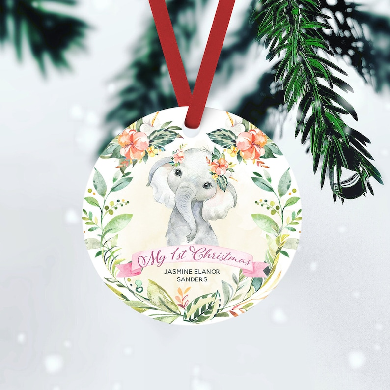 Baby 1st Christmas Custom Ornament Baby Girl Name Ornament FRONT ONLY