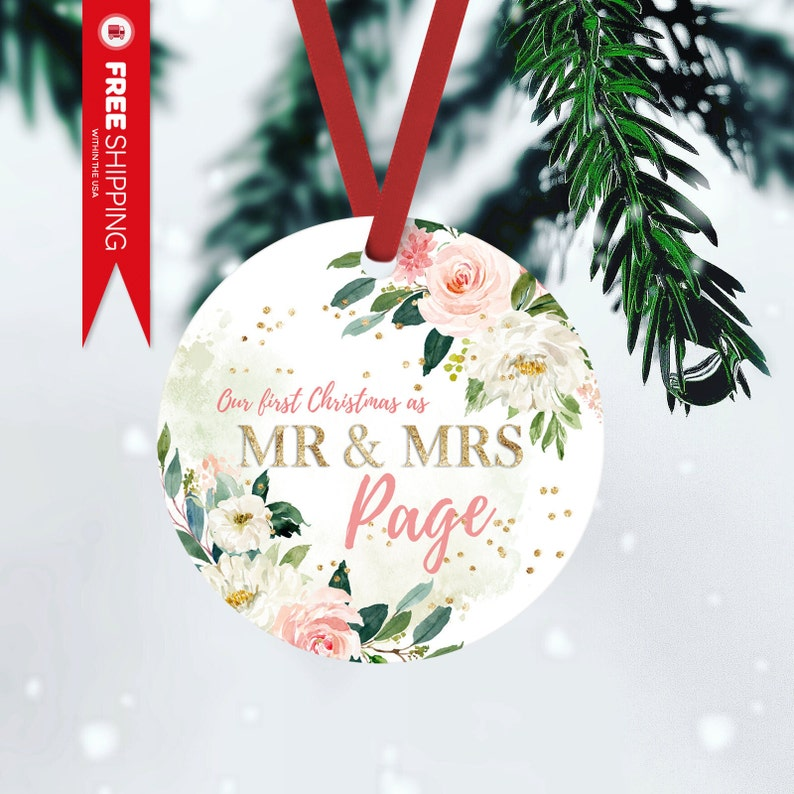 Mr & Mrs Ornament Personalized Gift For Newlyweds Newlywed FRONT ONLY