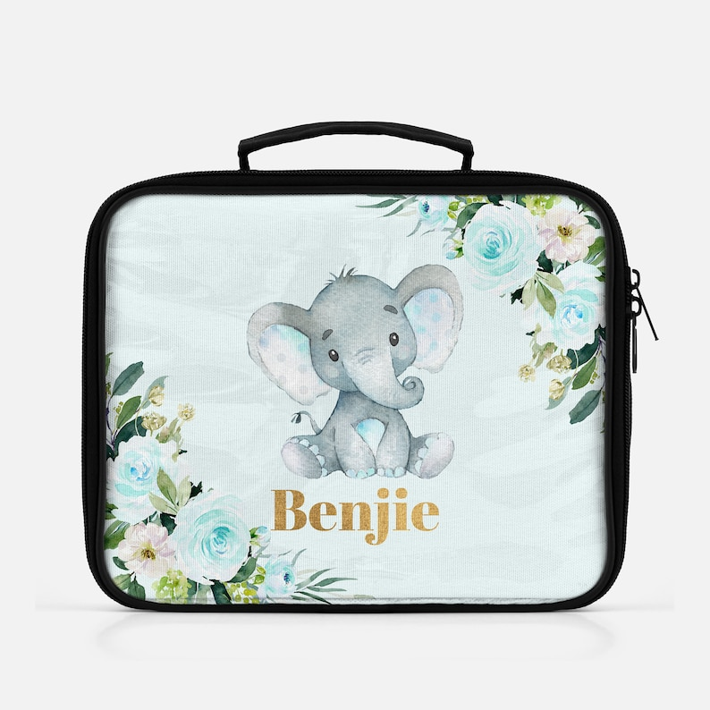 Blue & Gold Elephant Personalized Lunch Bag For Boys Elephant image 0