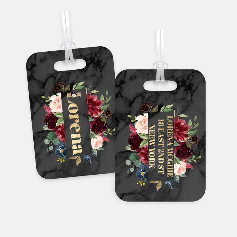 Black Marble Floral Custom Luggage Tag For Women Personalized image 0