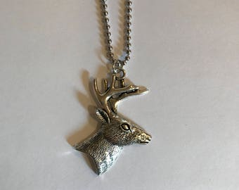 Deer Head Pendent Necklace,Deer Buck Pewter Jewelry,Surgical Stainless Steel Ball Chain