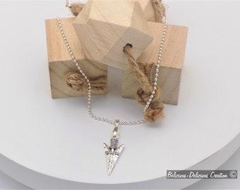Original Men's Necklace!! ARROW HEAD!! Chain has ball balls long 50cmX for 3cmX 1.5cm B-DeniseJewelry the Man Collection