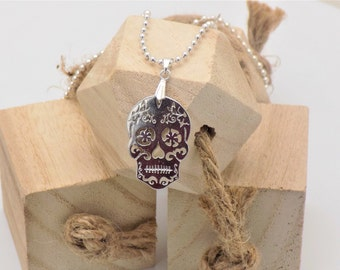 Original Men's Necklace!! Skully!! Chain a ball balls silver balls long 50cm for 4cm x 2cm B-DeniseJewelry the Man Collection