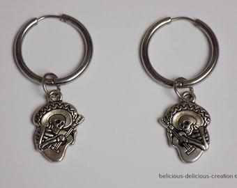 Original creole man earrings! SKELETON GUITAR! Stainless steel hoop silver T:2.5 cm X 5 cm belicious delicious creation