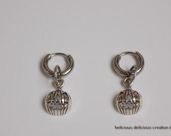 Original creole man earrings! PUMPKIN! Stainless steel hoop silver T:1 cm X 3 cm belicious delicious creation